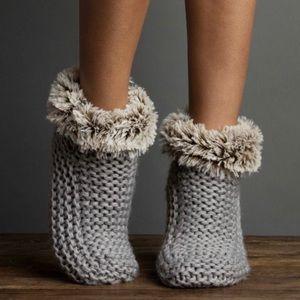 Faux fur knit slipper booties LUXURIOUS